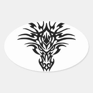 Cara del dragón pegatina ovalada