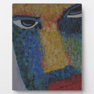 Cara del hombre placa expositora