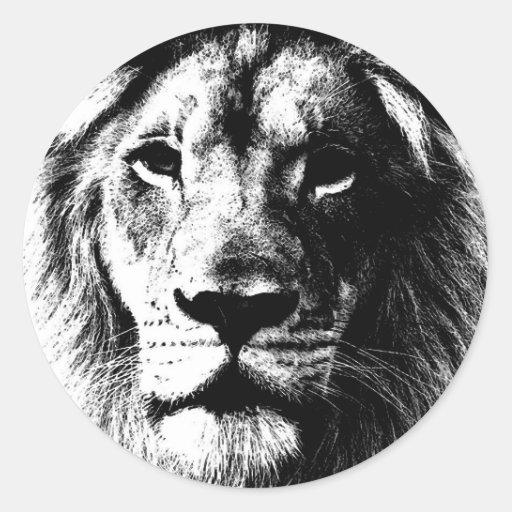 Cara del león de BW Pegatina Redonda