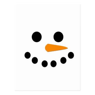 Cara del muñeco de nieve postal