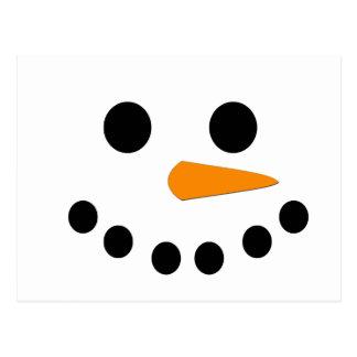 Cara del muñeco de nieve postales