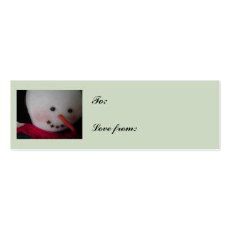 Cara del muñeco de nieve tarjetas de visita mini