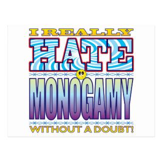 Cara del odio de la monogamia postal