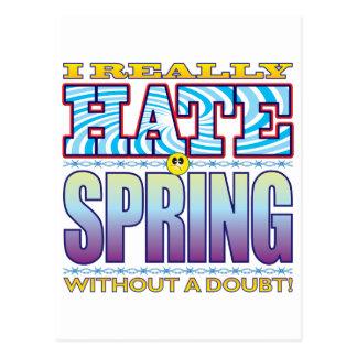 Cara del odio de la primavera postal