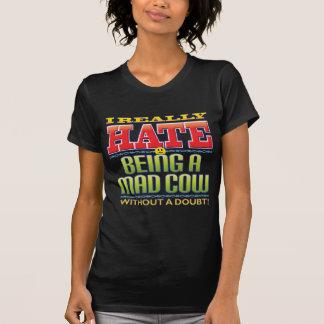 Cara del odio de la vaca loca camisetas