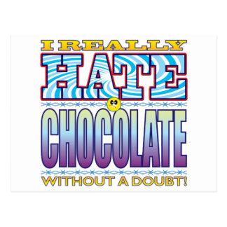 Cara del odio del chocolate postal