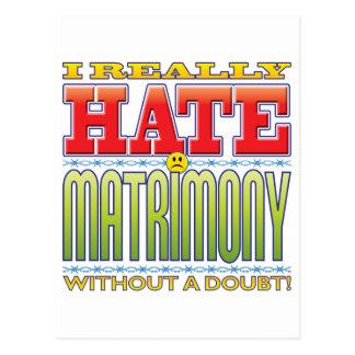 Cara del odio del matrimonio tarjeta postal