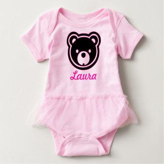 Cara del oso en negro y rosado - añada el tutú body para bebé