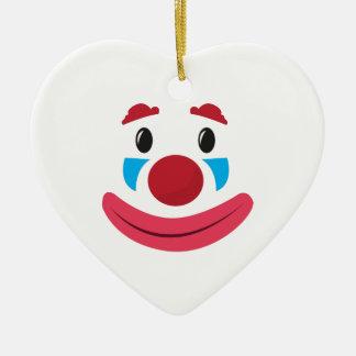 Cara del payaso adorno de cerámica en forma de corazón