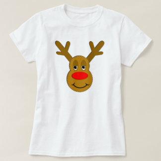 Cara del reno del navidad camiseta