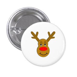 Cara del reno del navidad chapa redonda 2,5 cm
