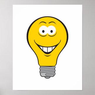 Cara del smiley de la bombilla póster