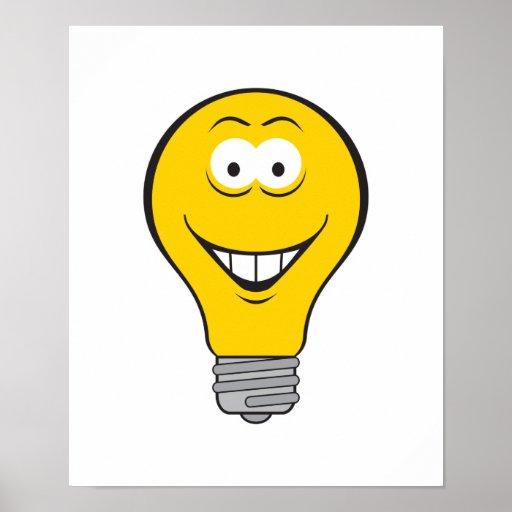 Cara del smiley de la bombilla posters