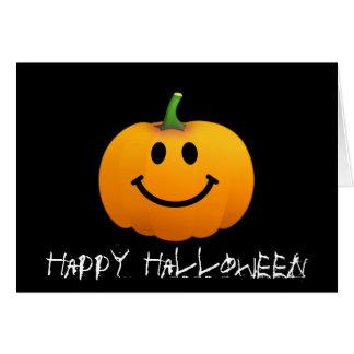 Cara del smiley de la calabaza de Halloween Tarjeta De Felicitación