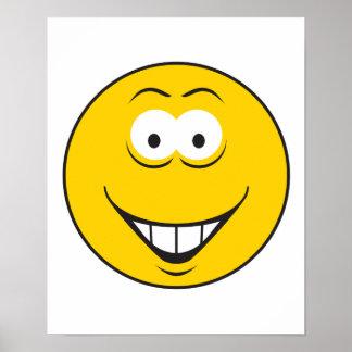 Cara del smiley de la sonrisa de los dientes póster