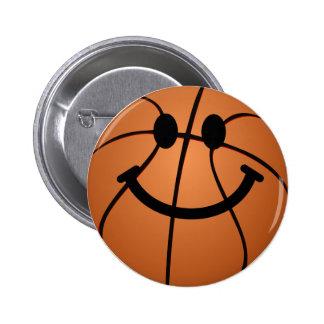 Cara del smiley del baloncesto chapa redonda de 5 cm