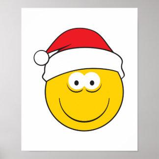 Cara del smiley del gorra de Santa Póster
