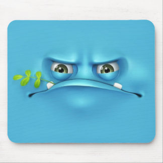 cara divertida azul tapete de raton