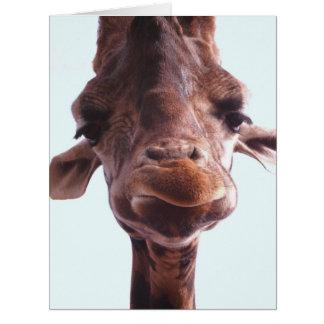 Cara divertida de la jirafa tarjeta de felicitación grande