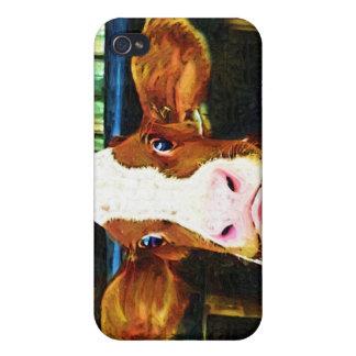 Cara divertida de la vaca iPhone 4 coberturas