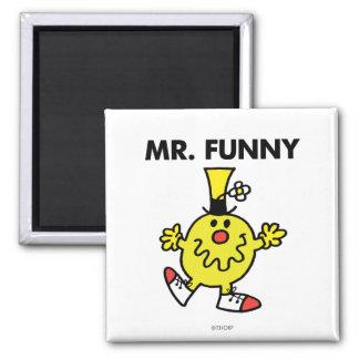 Cara divertida de Sr. Funny el | Imán Cuadrado