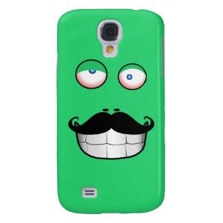Cara divertida del bigote (verde) funda samsung s4