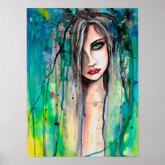 Cara en el retrato 12 x 16 de la fantasía del póster