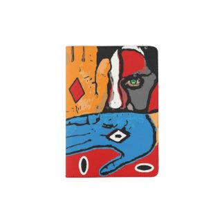 Cara en tenedor azul y anaranjado del pasaporte portapasaportes