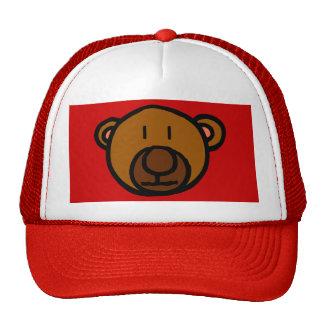 Cara exhausta del oso de peluche gorras