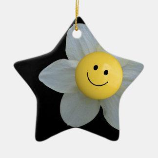 Cara feliz adorno navideño de cerámica en forma de estrella
