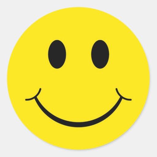 Cara feliz clásica pegatinas redondas de Zazzle.