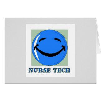 Cara feliz de la tecnología de la enfermera tarjeta de felicitación