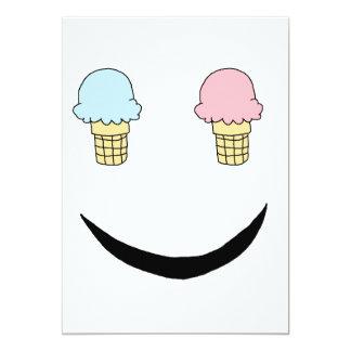 Cara feliz del helado invitación 12,7 x 17,8 cm