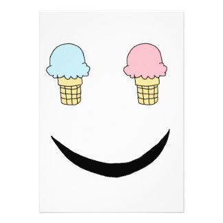 Cara feliz del helado invitación personalizada