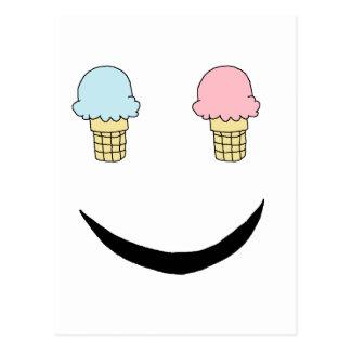 Cara feliz del helado postal