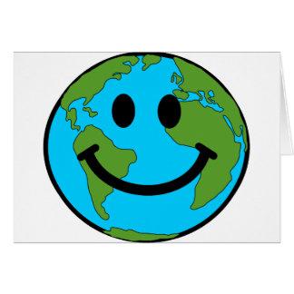 Cara feliz del smiley de la tierra tarjetón