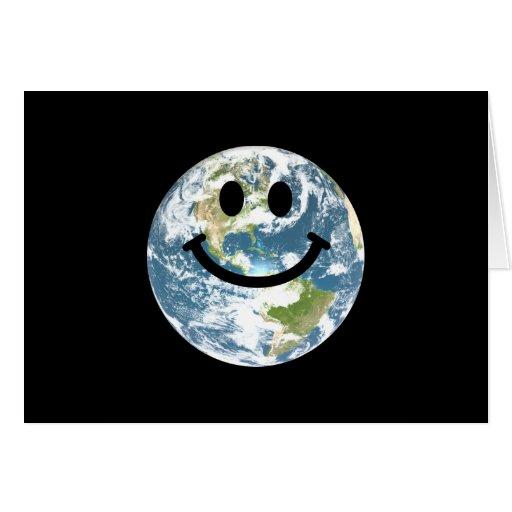 Cara feliz del smiley de la tierra tarjeton