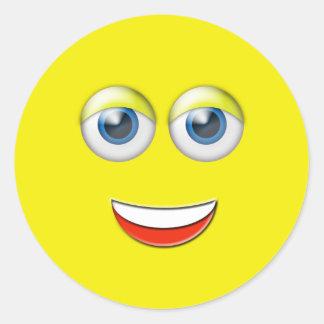 Cara feliz Emoji Pegatina Redonda