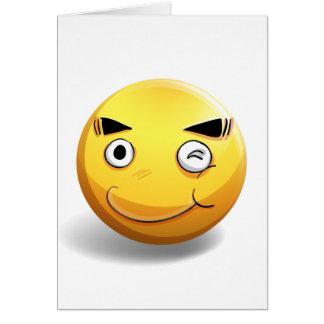 Cara feliz en insignia amarilla tarjeta de felicitación