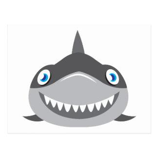 cara feliz linda del tiburón postal