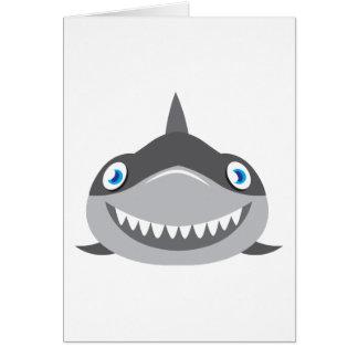 cara feliz linda del tiburón tarjeta de felicitación