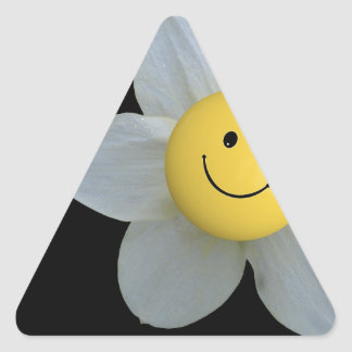 Cara feliz pegatina triangular
