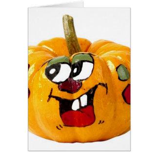 Cara feliz pintada de la calabaza tarjeta de felicitación