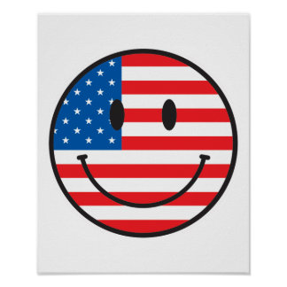Cara feliz sonriente de la bandera de los E.E.U.U. Póster