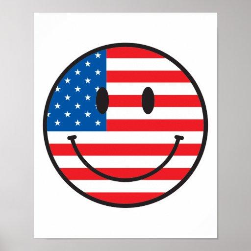 Cara feliz sonriente de la bandera de los E.E.U.U. Impresiones