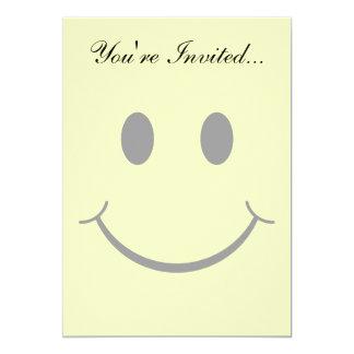 Cara feliz sonriente de los años 70 clásicos invitación 12,7 x 17,8 cm
