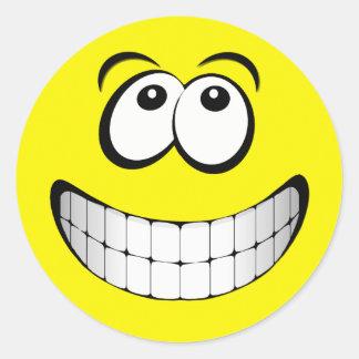Cara grande amarilla del smiley de la mueca pegatinas