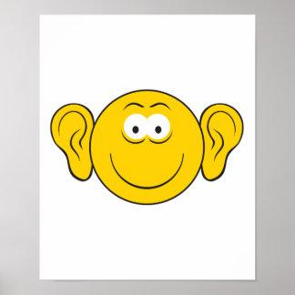 Cara grande del smiley de los oídos posters