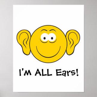 Cara grande del smiley de los oídos póster