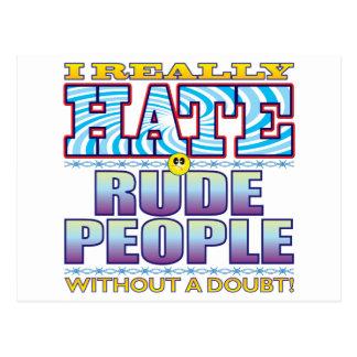 Cara grosera del odio de la gente postal